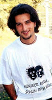 Tarkan in 1993 wearing a T-shirt campaigning against the building of a nuclear reactor