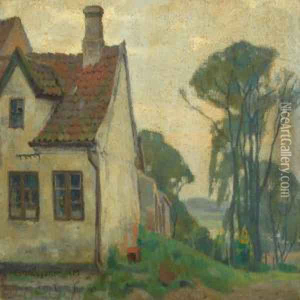 Landscape With House Oil Painting - Einar, Lili Elbe Wegener