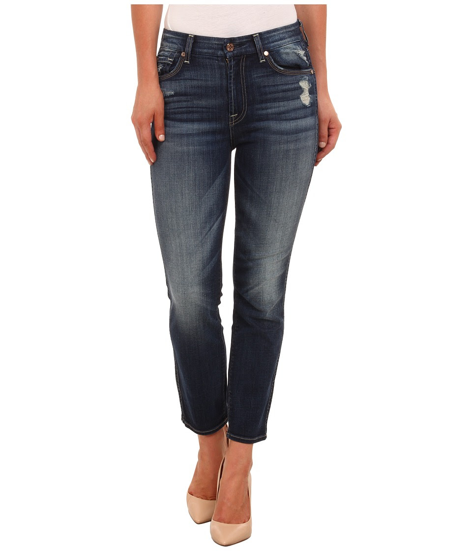 7 For All Mankind - Cropped High Waist Vintage Straight in Icelandic Blue (Icelandic Blue) Women's Jeans