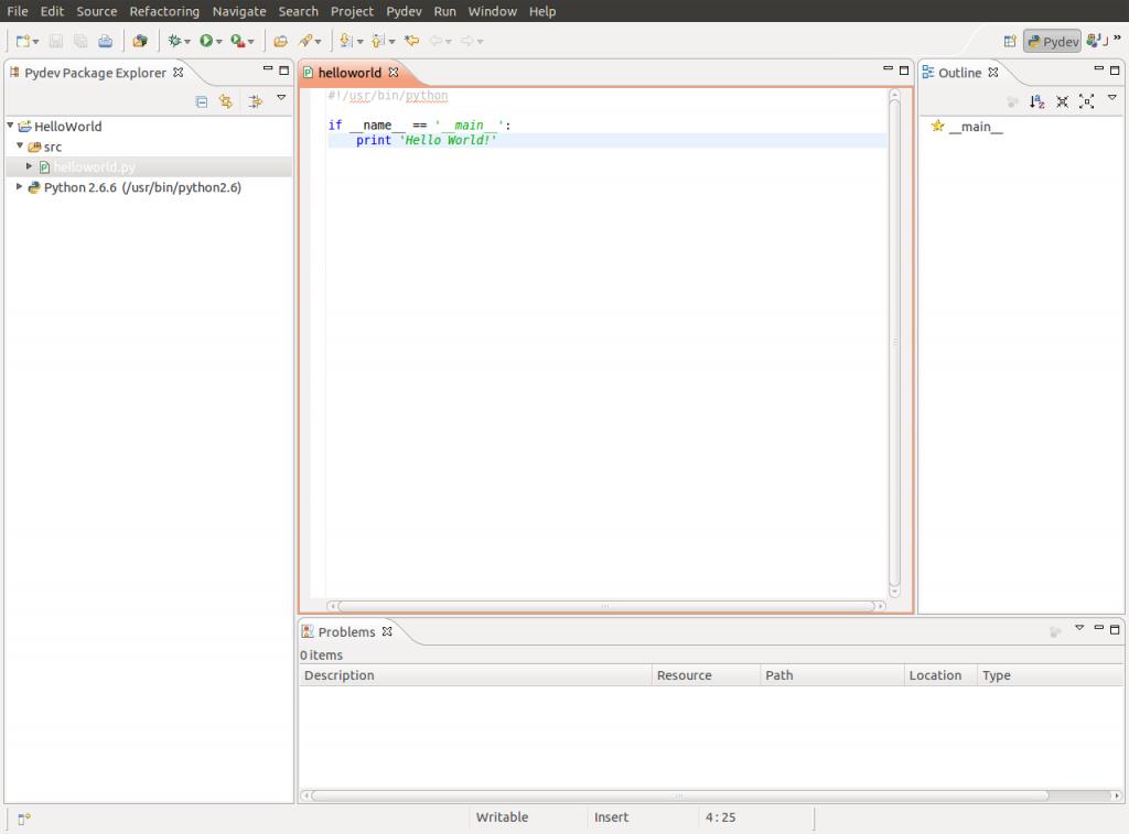 Eclipse: Python Hello World