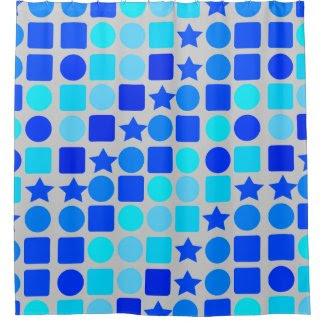 Blue Stars, Circles 'n' Squares Shower Curtain