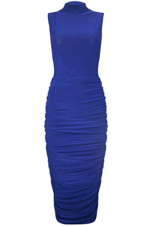 Essentials Dresses High Bodycon Plain Neck Sleeveless