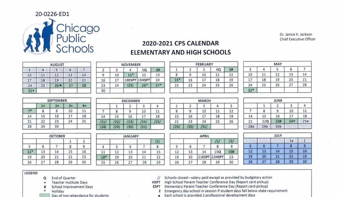2022 Calendar: Cps Calendar 2021