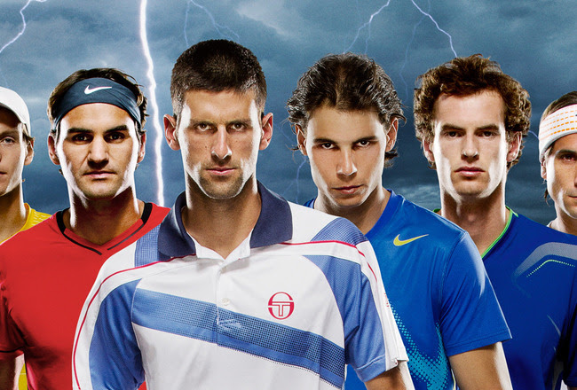 UNSPECIFIED, UNDATED:  (EDITORS NOTE: THIS IS A DIGITALLY ALTERED COMPOSITE IMAGE) 15 of the top male tennis players in the world (L-R) Ryan Harrison of United States, Bernard Tomic of Australia, Milos Raonic of Canada, Kei Nishikori of Japan, Fernando Verdasco of Spain, Janko Tipsarevic of Serbia, John Isner of United States, Tomas Berdych of Czech Republic, Roger Federer of Switzerland, Novak Djokovic of Serbia, Rafael Nadal of Spain, Andy Murray of Great Britain, David Ferrer of Spain, Jo-Wilfried Tsonga of France and Mardy Fish of United States look forward to the Indian Wells Open, the first of the season's ATP World Tour Masters 1000 events.  (Photo by Clive Brunskill/Getty Images for the ATP World Tour)  Kris Timken