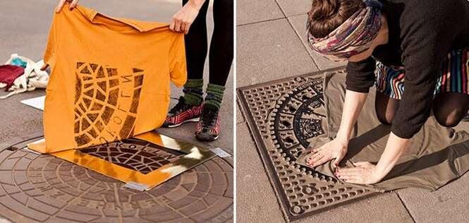 Estas pessoas estampam camisas e outros produtos usando as ruas da cidade