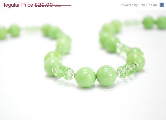CIJ SALE Lime Green Necklace,Green Apple Granny Smith, Bright Neon 80s Spring Fashion, Fresh Grass,Gift Under 25 - CCARIA