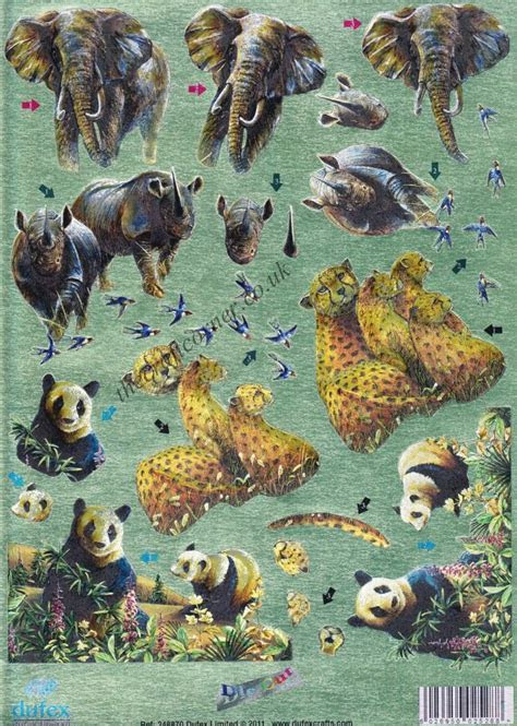 Endangered Wild Animals Twin Pack 3d Die Cut Decoupage