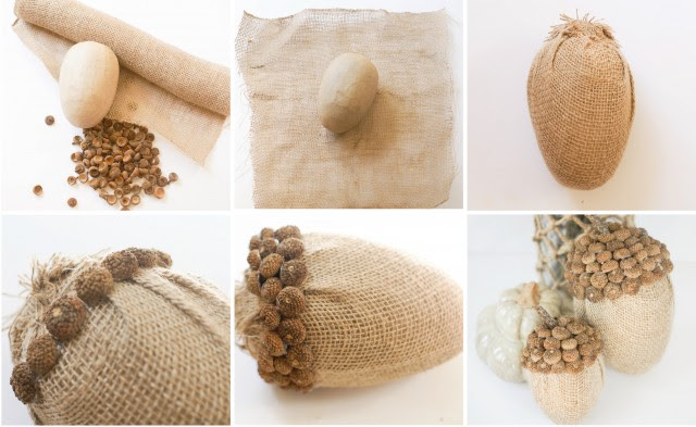 Making Burlap Acorns with real acorn shells