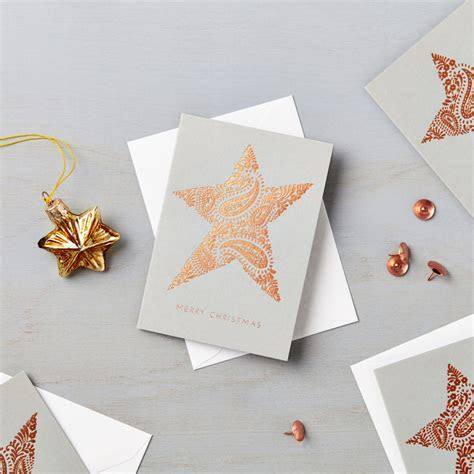 Pack of 6 Luxury Copper Foil Mini Star Charity Christmas