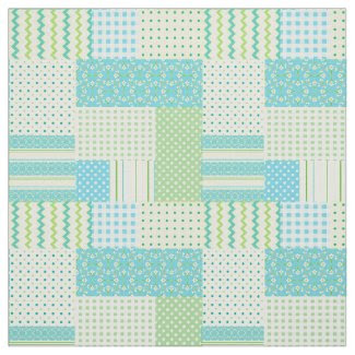 Spring Sunshine Faux Patchwork Patterns Fabric