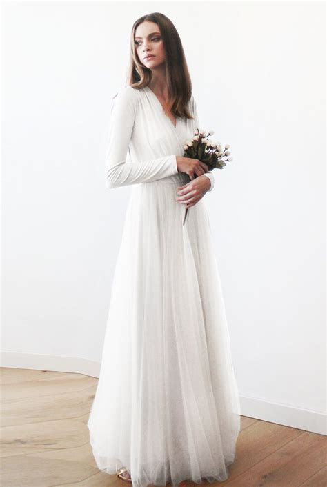 Ivory Wedding Dress maxi tulle gown with long sleeves