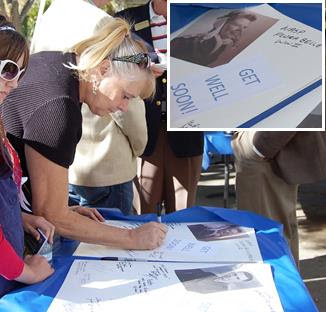 "At a 2014 Veterans Day ceremony at Lancaster Cemetery, attendees signed a ""Get Well"" card to be send to Reece. Less than a month later, Reece died peacefully in a UCLA medical facility after being removed from life support."