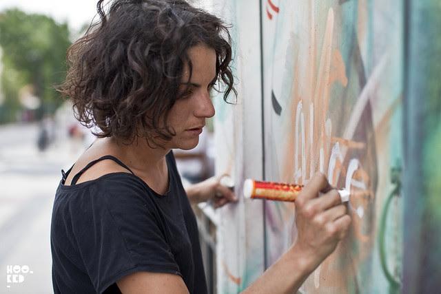Camden Street Art, Italian Street Artist Alice paints London Mural