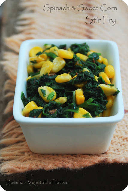 Spinach & Sweet Corn Stir Fry