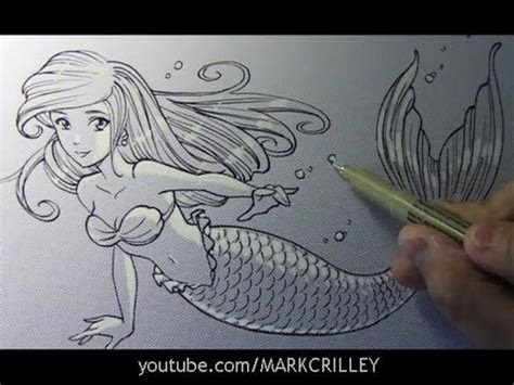 drawing time lapse mermaid  mark crilley drawings
