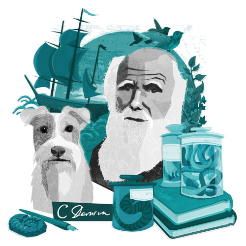 This charming portrait of Charles Darwin and his fox terrier Polly by London-based illustrator Kerry Hyndman is the sweetest thing since this photo of Maurice Sendak and his German shepherd Herman. Pair with literary history's notable pets and the authors who loved them.