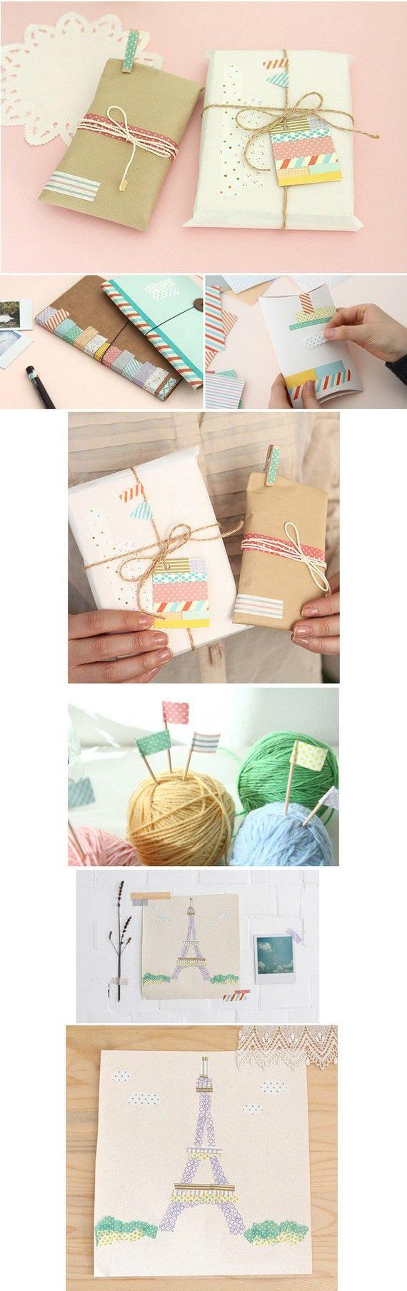pretty washi tape gift wrap