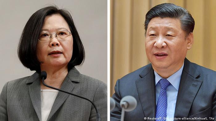 Bildkombo - Taiwanesische Präsidentin Tsai Ing-wen vs Chinesichen Präsidenten Xi Jinping (Reuters/T. Siu, picture-alliance/Xinhua/L. TAo)