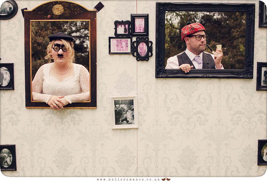 Bride and groom funny vintage pose at wedding photo wall wedding photos photo frame wall - Hello Romance
