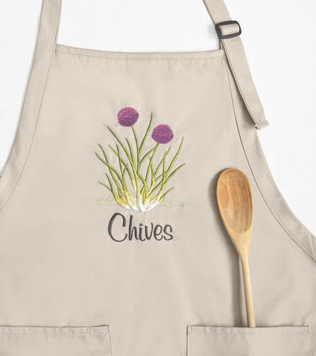 Flowering Chives Embroidered Apron, Adjustable Full Length - product images  of