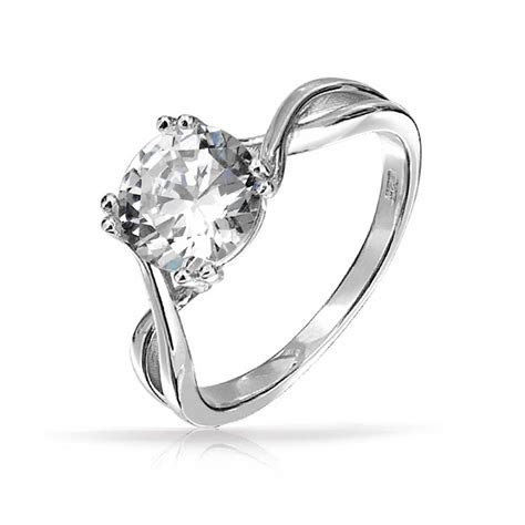 925 Silver Twist Round 2 Carat CZ Solitaire Engagement Ring