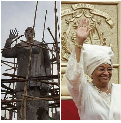 Statue of Liberian President Allegedly Spotted in Owerri Ahead of Her Visit to Imo State (Photos)
