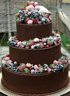 Big three tier, rich chocolate wedding cake decorated with