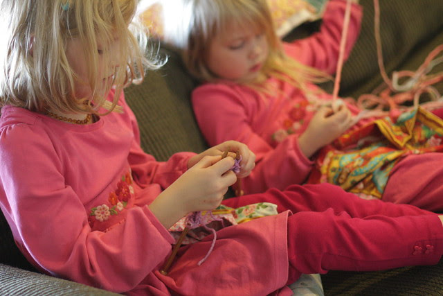 Learning to knit (Waldorf First Grade)