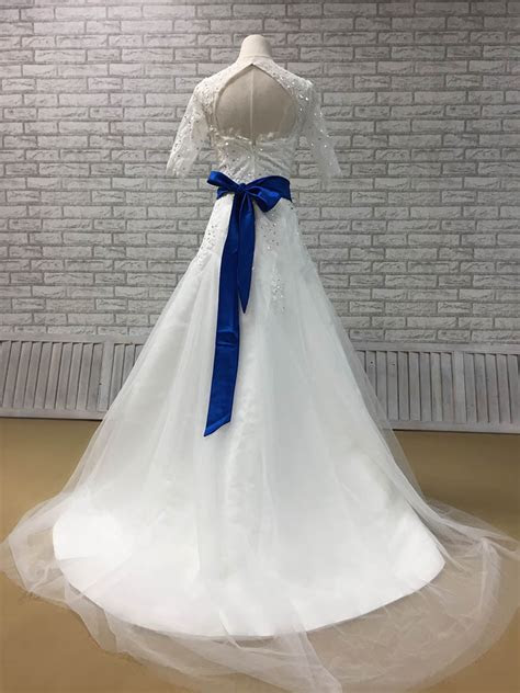 Hite Lace Half Sleeve Beaded Fit and Flare Tulle Wedding