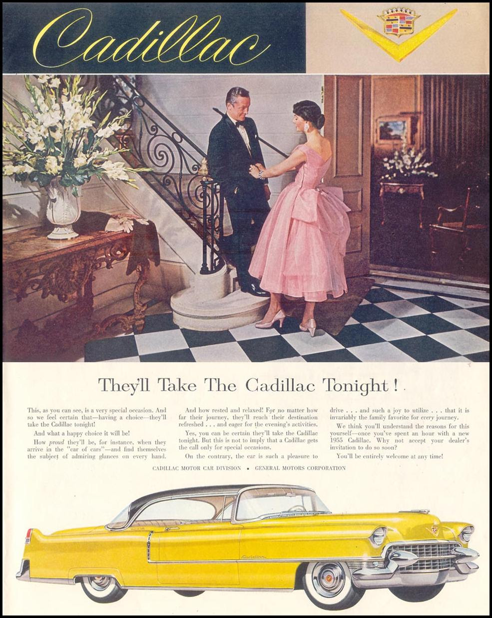 CADILLAC AUTOMOBILES SATURDAY EVENING POST 04/09/1955