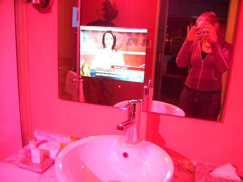 Flamingo Hotel bathroom TV  1