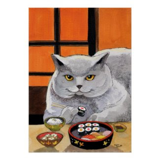 Sushi Cat Big Fred Posters