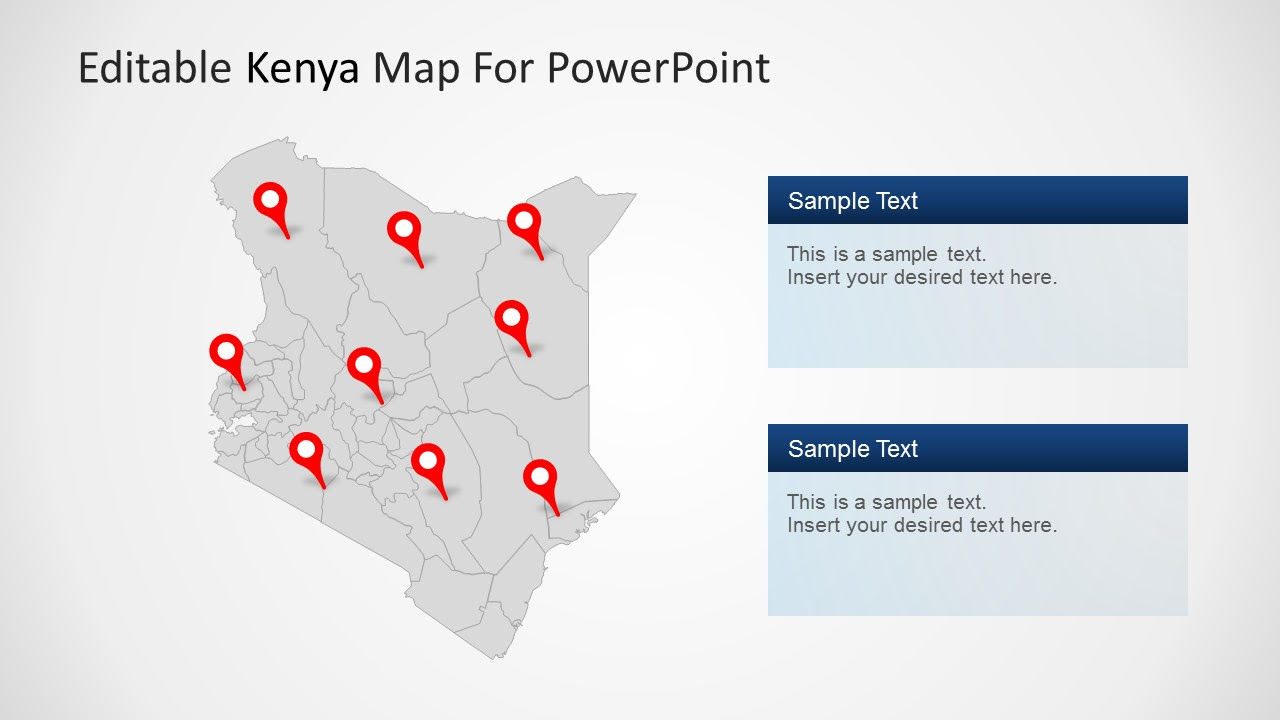 Kenya Map for PowerPoint with State Highlighted - SlideModel