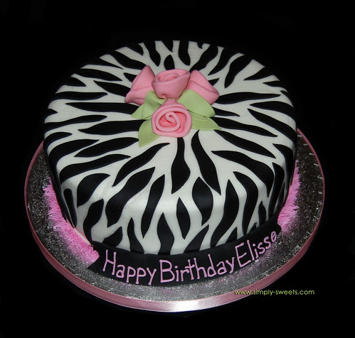 single tier zebra print birthday cake