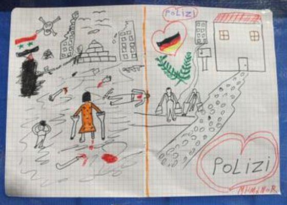 Dibujo de niño refugiado sirio