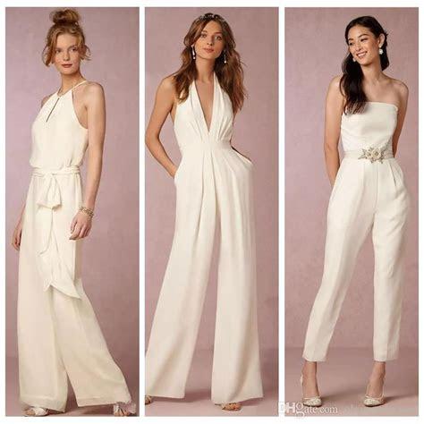 ivory jumpsuit bridesmaid dresses  wedding