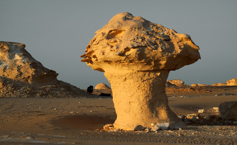 Mushroom-like limestone structure in the White Desert in Egypt