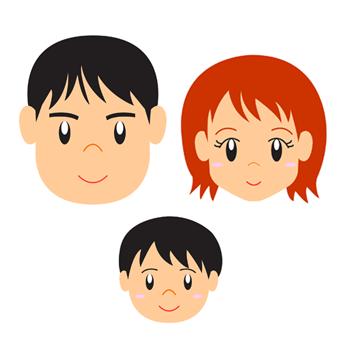 家族3人パパママこども顔親子イラスト