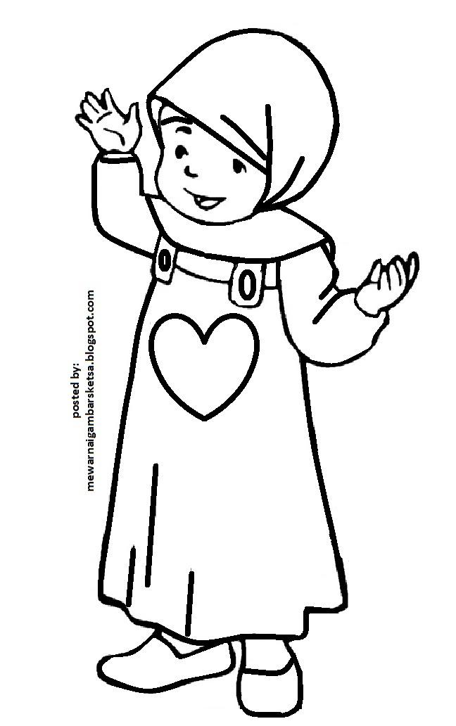 Mewarnai Gambar Anak Muslim Mengaji
