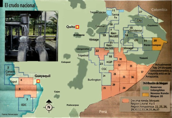 En naranja, al sur del Yasuní, los bloques de la décima ronda petrolera