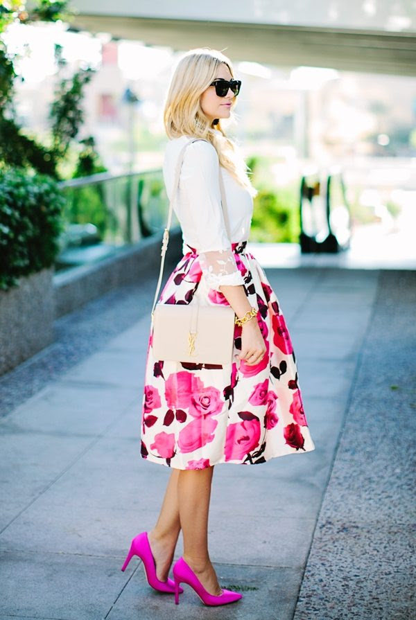 floral midi skirt outfit bmodish