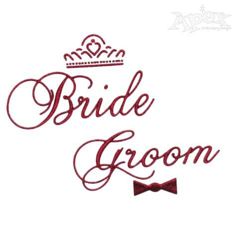 Bride and Groom Wedding Embroidery Design