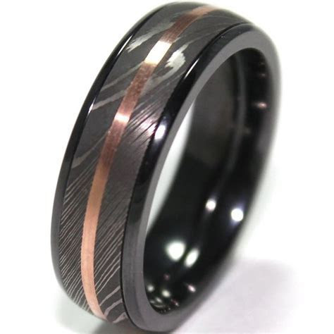 Men's Black Zirconium Ring with Damascus Steel and 14K