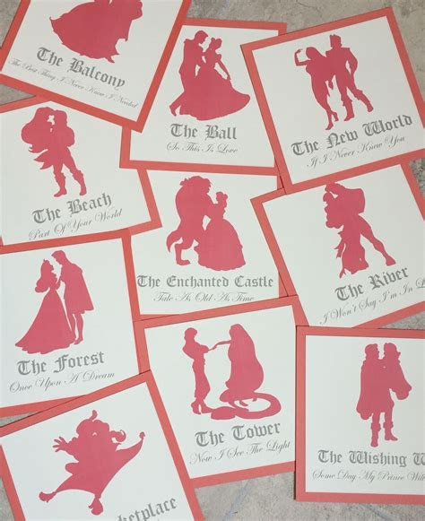 Disney Couple Silhouette Table Name Cards   Weddings