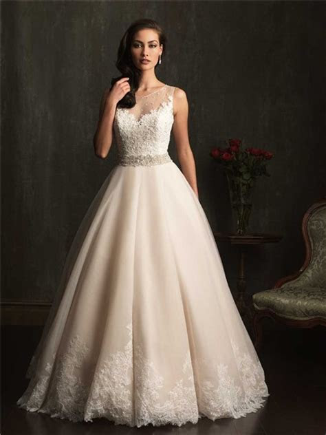 Ball Gown Sheer Illusion Neckline Champagne Lace Tulle