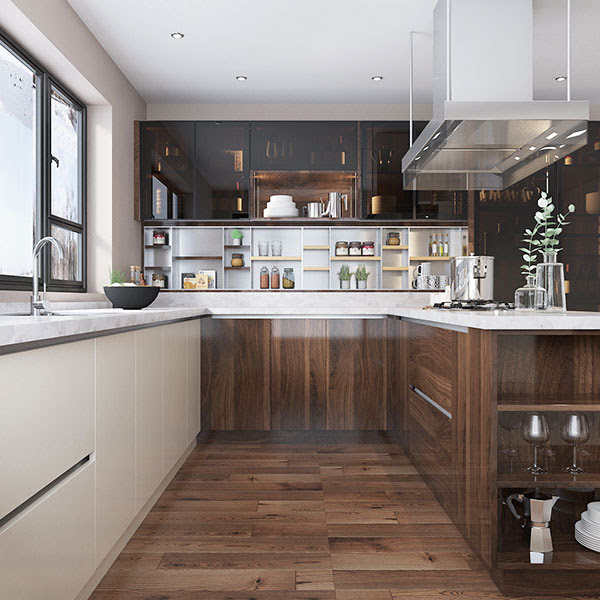 Oppein Kitchen In Africa Wood Brown High Gloss Uv Lacquer Kitchen Cabinet Op19 L09