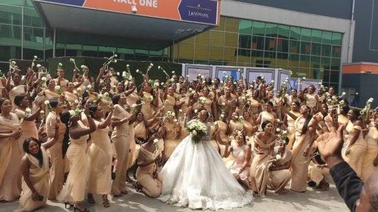 Oluwa wetin dey Occur ? Sandra Ikeji made use of 200 Bridesmaids for her wedding.