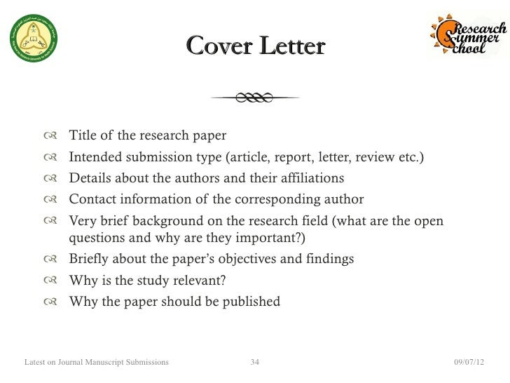 Cover Letter Manuscript Submission Example Sample Cover Letter