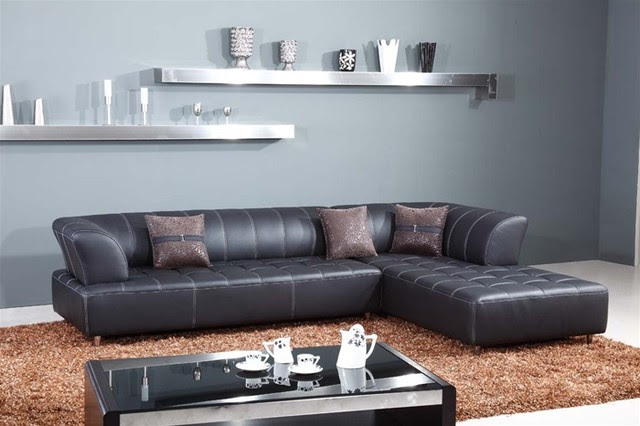 Imano Contemporary Leather Sectional - Black Leather Sectionals