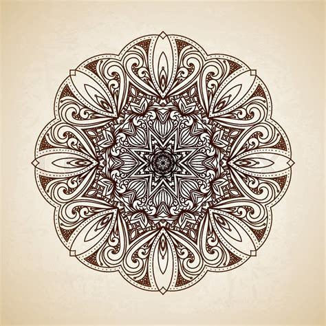 Vintage vector circle floral ornamental border. Lace